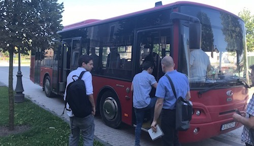 Reporters board one of the 15 buses in Alba Iulia that now feature air-quality monitors and WiFi technology.