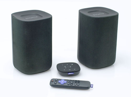 Roku is selling its new wireless speakers in a bundle that includes a handheld voice remote and a new 'tabletop' voice remote called the Roku Touch.