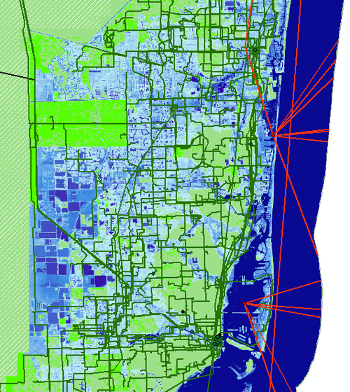 Seawater inundation projected for Miami by 2033 and its effect on internet infrastructure. Undersea cables, long haul fiber cables and metro fiber cables are shown in the red/green/black lines respectively. Anything in the blue shaded areas is estimated to be underwater in 15 years due to climate change induced sea level rise as projected by the National Oceanic and Atmospheric Administration. (Credit: Paul Barford, UW-Madison)