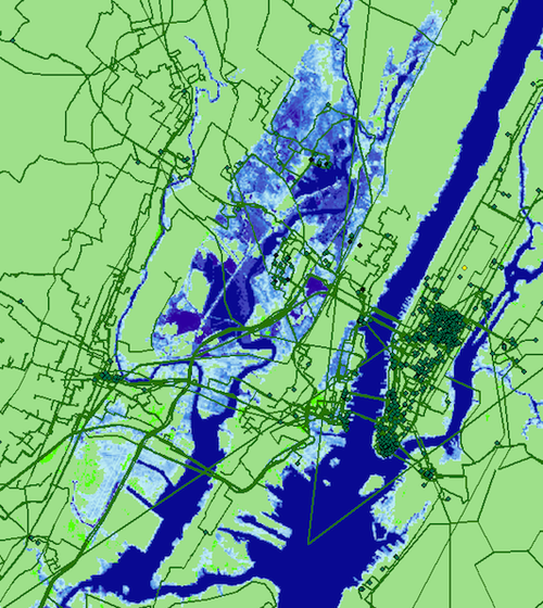 Seawater inundation projected for New York City by 2033 and its effect on internet infrastructure. Undersea cables, long haul fiber cables and metro fiber cables are shown in the red/green/black lines respectively. Anything in the blue shaded areas is estimated to be underwater in 15 years due to climate change induced sea level rise as projected by the National Oceanic and Atmospheric Administration. (Credit: Paul Barford, UW-Madison)