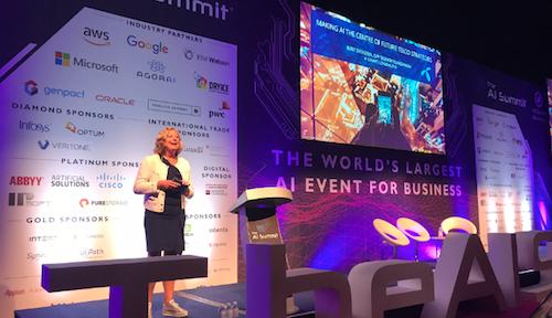 Berit Svendsen, Telenor Norway's CEO, speaks at the AI Summit in London in June.