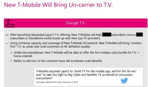 As part of its argument for regulators to approve its proposed merger with Sprint, T-Mobile claims that the combined company will be well-positioned to disrupt the US pay-TV sector. (Source: T-Mobile FCC filing)