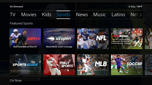 The integration ties these sports streaming apps into the X1 guide as well as the platform's search and voice-based navigation systems.