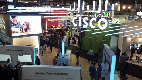 Cisco's stand at IBC2018 -- next year the name on display will be Synamedia.