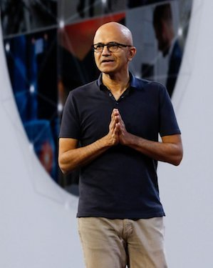 CEO Satya Nadella gives the side-eye to Amazon Web Services, saying Microsoft won't compete with its enterprise customers.