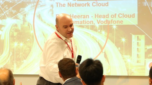Vodafone's Fran Heeran at Huawei's recent Operations Transformation Forum event in Munich: It's time to focus on east-west orchestration and not just north-south APIs, he says.