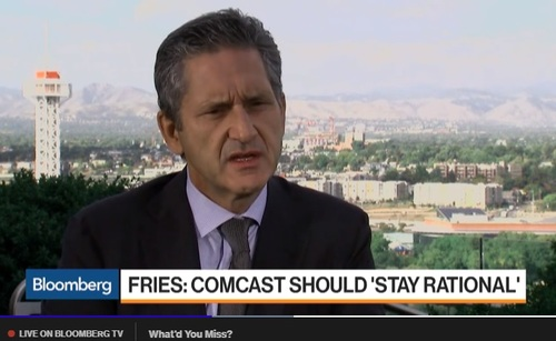 Liberty CEO Mike Fries offered a word of advice to Brian Roberts as US-based Comcast gets ready to open up shop across the pond. (Image source: Bloomberg)