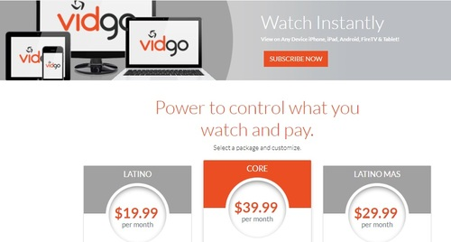 Ahead of its national launch, Vidgo's site is promoting three video package options.