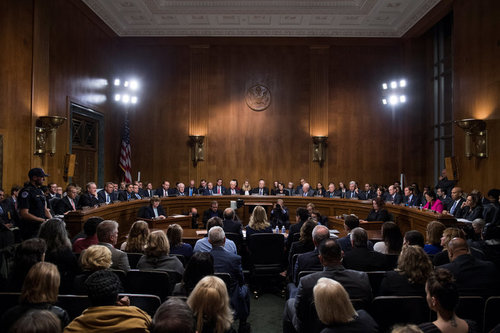'Christine Blasey Ford testified before the Senate Judiciary Committee last week. All the Republican members of that committee are male,' says Huffington Post in its coverage of the event.