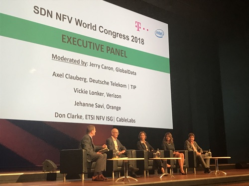 From left to right: GlobalData's Jerry Caron; CableLabs' Don Clarke; Orange's Jehanne Savi; Verizon's Vickie Lonker; Deutsche Telekom's Axel Clauberg.