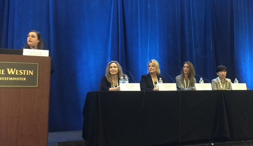From L to R: Kelsey Ziser, Light Reading; Amy LaFebre, Verizon; Tracy Nolan, Sprint; Shannon Williams, Infinera; Michelle Han, VMware.