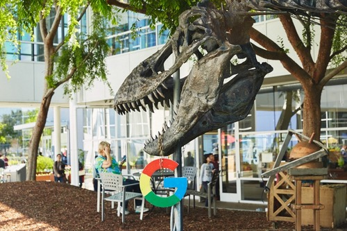 A dinosaur at Google's offices. The offices are called the 'Googleplex.' The dinosaur is 'Stan.'