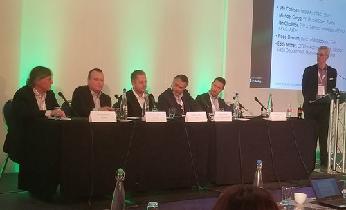 Talking WiFi and gigabits in London (left to right): Michael Clegg, Plume; Ian Challinor, AirTies; Frode Elverum, Get; Eddy Motter,  Huawei; Uffe Callesen, Stofa, and panel moderator Alan Bresnick, Light Reading.