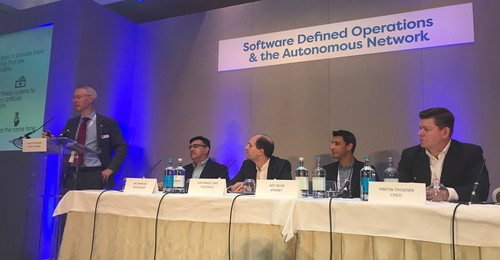 From left to right: Heavy Reading's James Crawshaw; Netcracker's Ari Banerjee; Telefonica's Juan Manuel Caro; Atrinet's Roy Silon; Cisco's Martin Thygesen.