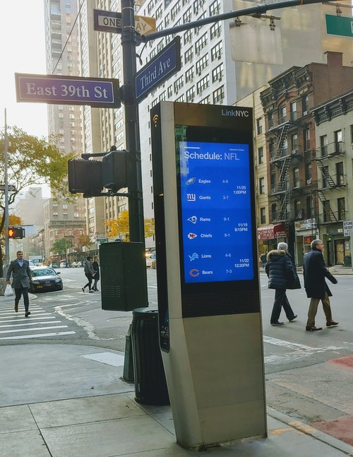 A LinkNYC WiFi kiosk.