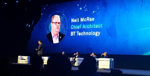 BT's Neil McRae joins the on-stage panel at Huawei's Global Mobile Broadband Forum.