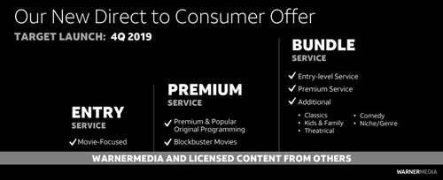A snapshot of the three-tiered SVOD product that AT&T plans to launch in Q4 2019.