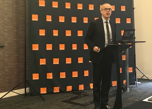 Ramon Fernandez, Orange's chief financial officer, sets out the French operator's banking strategy at a press conference in London