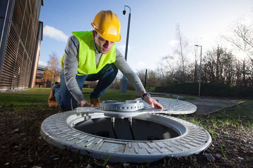 A purpose-built manhole-cover antenna unit is being trialed at Vodafone's Newbury HQ.