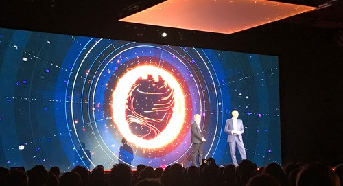Orange CEO Stephane Richard and Deutsche Telekom CEO Timotheus Hottges address a packed hall in Paris this morning.