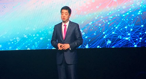 Ken Hu, Huawei's rotating CEO, addresses attendees at his company's Global MBB Forum in London last month.
