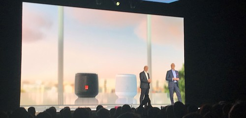 Orange's Stephane Richard (left on stage) and Deutsche Telekom's Timotheus Hottges (right) unveil their new smart speakers at Orange's annual Hello show in Paris this month.