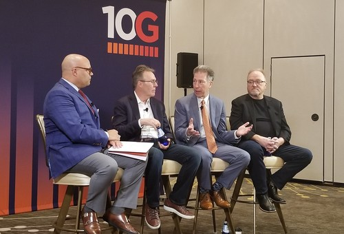 Talking 10G (from left to right): Michael Powell, NCTA; Tony Werner, Comcast; Pat Esser, Cox; and Phil McKinney, CableLabs.