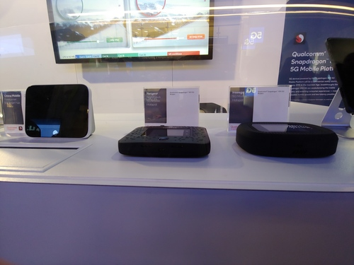 The Nighthawk at front and center in the cabinet. Recall that AT&T has said that the device will available to the wider public in the Spring for $500 a pop.