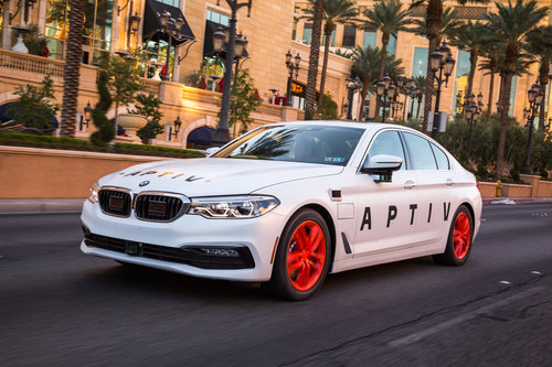 Auto parts company Aptiv is testing self-driving technology on a BMW model in Las Vegas.