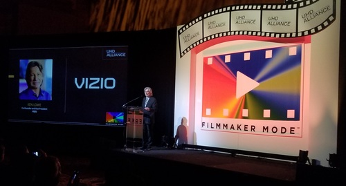 Vizio's Ken Lowe touts the TV maker's support for Filmmaker Mode at the UHD Alliance presser at CES.