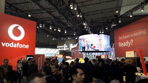 Vodafone is as prominent as ever on the MWC show floor.
