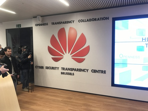 Reporters are given a whistle-stop tour of Huawei's new cybersecurity center in Belgium.
