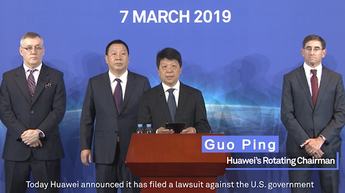 Huawei rotating chairman Guo Ping lays out the company's legal plans.