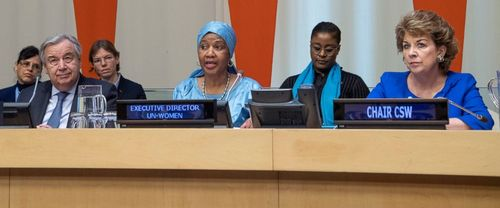 Phumzile Mlambo-Ngcuka, executive director of UN Women, speaks at the  United Nations headquarters at the UN Observance of International Women's Day event. 