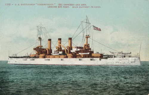 The flagship Connecticut, one of a set of commemorative postcards of ships of Theodore Roosevelt's Great White Fleet.