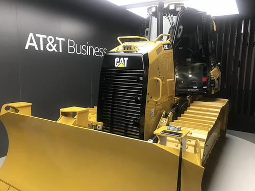 AT&T Business and a feline friend at Mobile World Congress 2018.