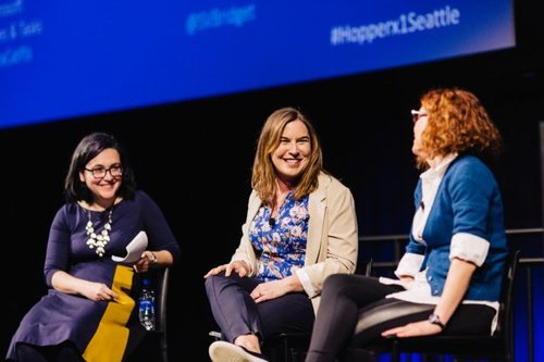 Microsoft's Kiki Tsagkaraki (left), Redfin CTO Bridget Frey (center)  and Microsoft Corporate Vice President Laura Butler (right) at the Hopperx1 Seattle conference.