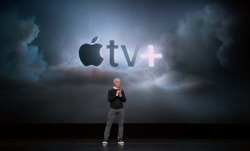 Apple CEO Tim Cook introduces Apple TV+, a subscription streaming service that will also let users download titles for offline viewing. Pricing will be announces this fall, when Apple enters the already-crowded premium OTT video market.