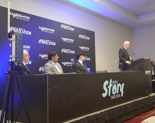 ATSC 3.0 was the topic of the day Monday at NAB during a presser with (right to left) Sinclair's David Smith; Joseph Lee, VP, head of technology innovation at SK Telecom; Parag Naik, CEO of Saankhya Labs; and John Hane, CEO of Spectrum Co. An ATSC 3.0 radio head, for deployment on cell towers, is shown on the far left.