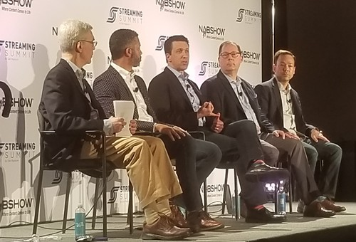 Light Reading's Alan Breznick (far left) moderated a panel that featured (from his left) Nii Addy, Philo; Adam Lewinson, Tubi; Brett Sappington, Parks Associates; and Mitch Weinraub, AirTV, Dish Network and Sling TV.