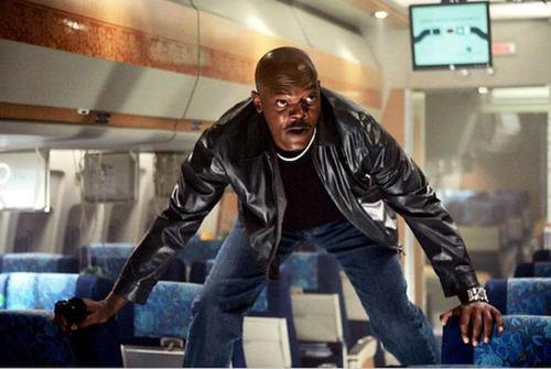Samuel Jackson battles real-life snakes in the Hollywood movie Snakes on a Plane.