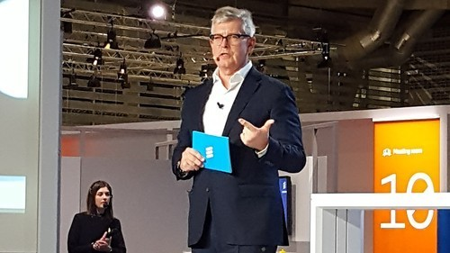 Borje Ekholm, Ericsson's CEO, speaks at this year's Mobile World Congress in Barcelona.