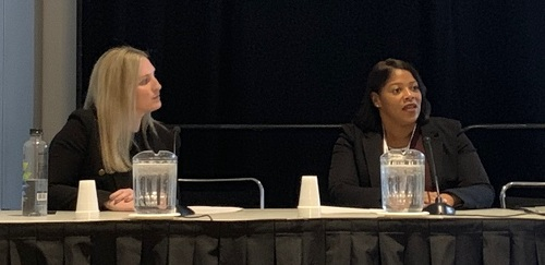 (From L to R) Kendall Bancroft, Sr. Director of Small Business Sales, Indirect Channels at Rogers Communications, discusses tall poppy syndrome during a fireside chat with AT&T AVP Shay Phillips.