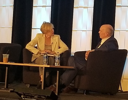 Showtime's Tom Christie (right) is joined on stage by session interviewer Bridget Baker, CEO of Baker Media.
