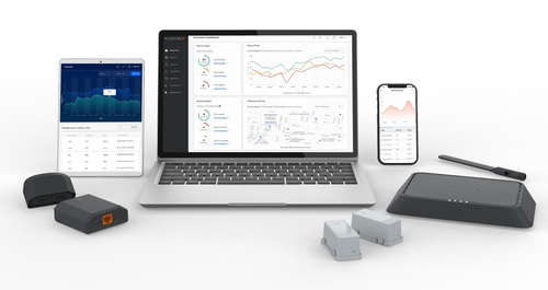 Comcast's machineQ IoT product family features a range of low-power sensors, indoor and outdoor gateways (its flagship indoor 'Area 8c' IoT gateway is pictured at the far right) that are all underpinned by a cloud-powered software platform called MQcentral.
