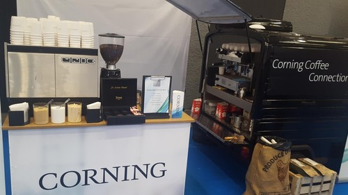 Corning's coffee cart... this was before the show floor opened and the only time there wasn't a queue to a 'hit'...