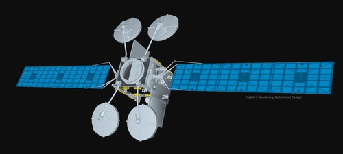 A set of ViaSat-3 satellites will provide Viasat with global coverage and another 1 Tbit/s of capacity in the years to come. Pictured is a rendering, not the actual design, the ViaSat-3 satellite. 