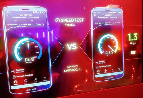 Motorola shows off a 1.3Gbit/s download from Verizon's Chicago 5G network.
