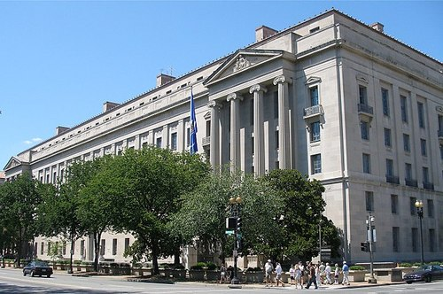 The US Department of Justice headquarters. Photo by w:User:Coolcaesar