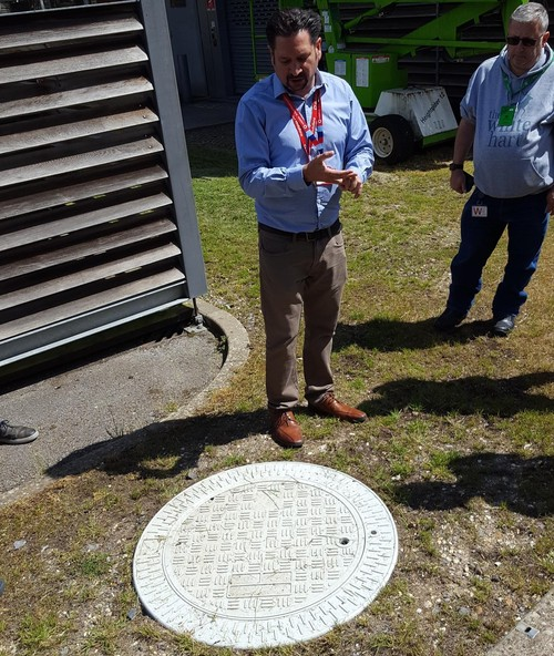 Vodafone UK's Pete Rodriquez ponders his small cell manhole.